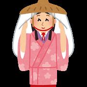 市女笠を被った秋田美人のイラスト